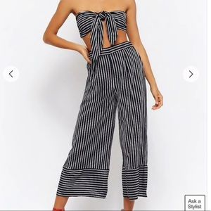 Striped crop top and pant set